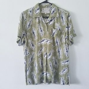 Vtg 90s Columbia novelty fish print button up S